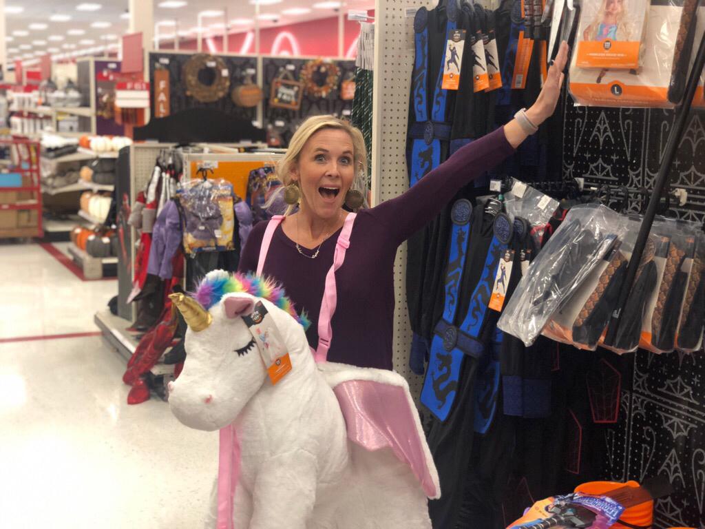 target store guide – Collin in a unicorn costume