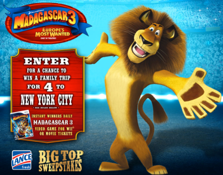 Lance Big Top Sweeps: Win Madagascar 3 Wii Game, Movie