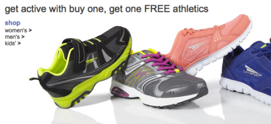 : Buy 1 Get 1 Free Sale on Athletic Shoes = 2 Pairs