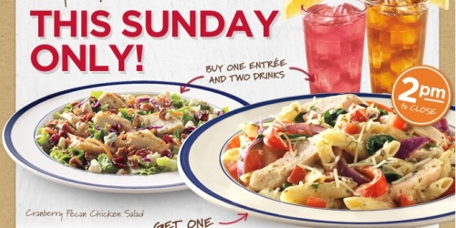 Bob Evans: FREE Entree with Purchase of an Entree and 2 Drinks (3/24 Only)