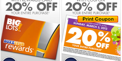 Big Lots: 20% Off Entire Purchase