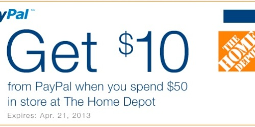 Paypal: Get $10 When You Spend $50 In-Store at Home Depot (Valid Through 4/21)