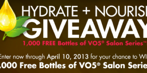 VO5 Facebook Giveaway: 1st 200 Daily Win Free VO5 Product Coupon – Noon EST Thru 4/10