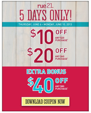 image about Rue 21 Printable Coupon named Rue 21: Uncommon $10 Off $20 Obtain In just-Retail store Coupon (Or Up towards