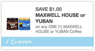 photograph regarding Maxwell House Printable Coupons titled $1/1 Maxwell Property or Yuban Espresso Coupon \u003d Merely $1.99 at