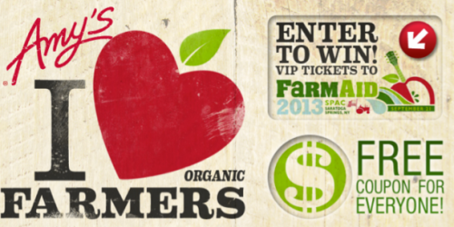 Amy's I Heart Farmer's Sweeps: Win Shirts, Meals + More (+ Print $0.75/1 Amy's Kitchen Coupon!)
