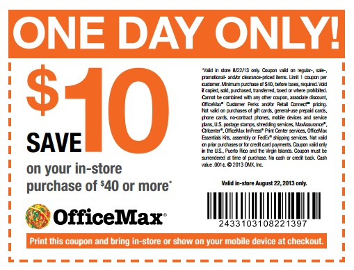 Office Max 10 Off 40 In Store Purchase Coupon Valid Today Only Facebook Hip2save