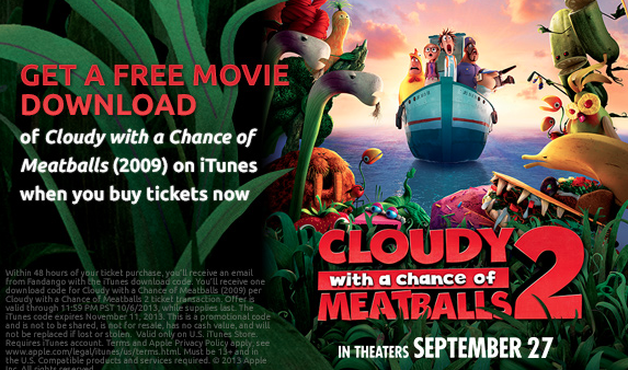 Fandango com: FREE iTunes Movie Download w/ Cloudy With a