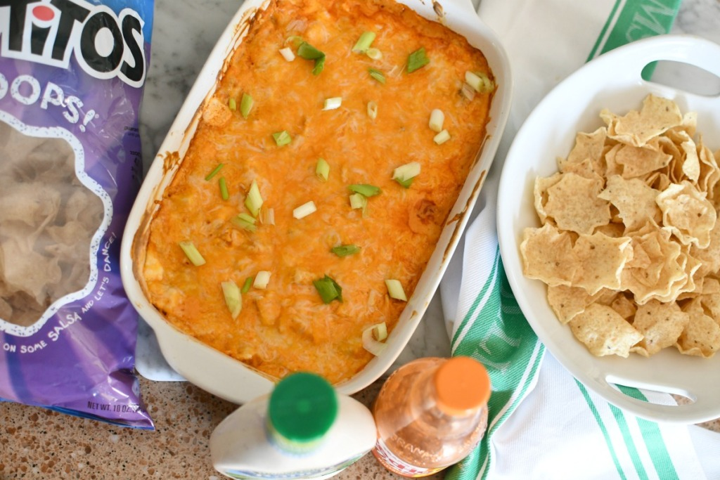 buffalo chicken dip in a casserole dish on the counter