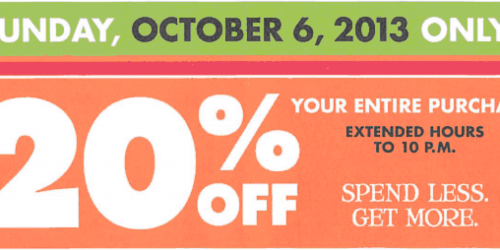 Big Lots: 20% Off Your ENTIRE Purchase (Valid on 10/5 for Buzz Club Members or 10/6 for Everyone)