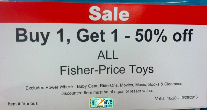 graphic regarding Fisher Price Printable Coupons known as ToysRUs: Acquire 1 Choose 1 50% Off ALL Fisher-Rate Toys - Hip2Conserve