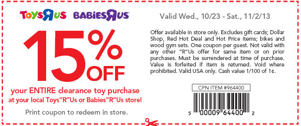 13ca7c603fe Toys R Us   Babies R Us  15% Off Entire Clearance Toy Purchase Coupon  (In-Store Only) - Hip2Save