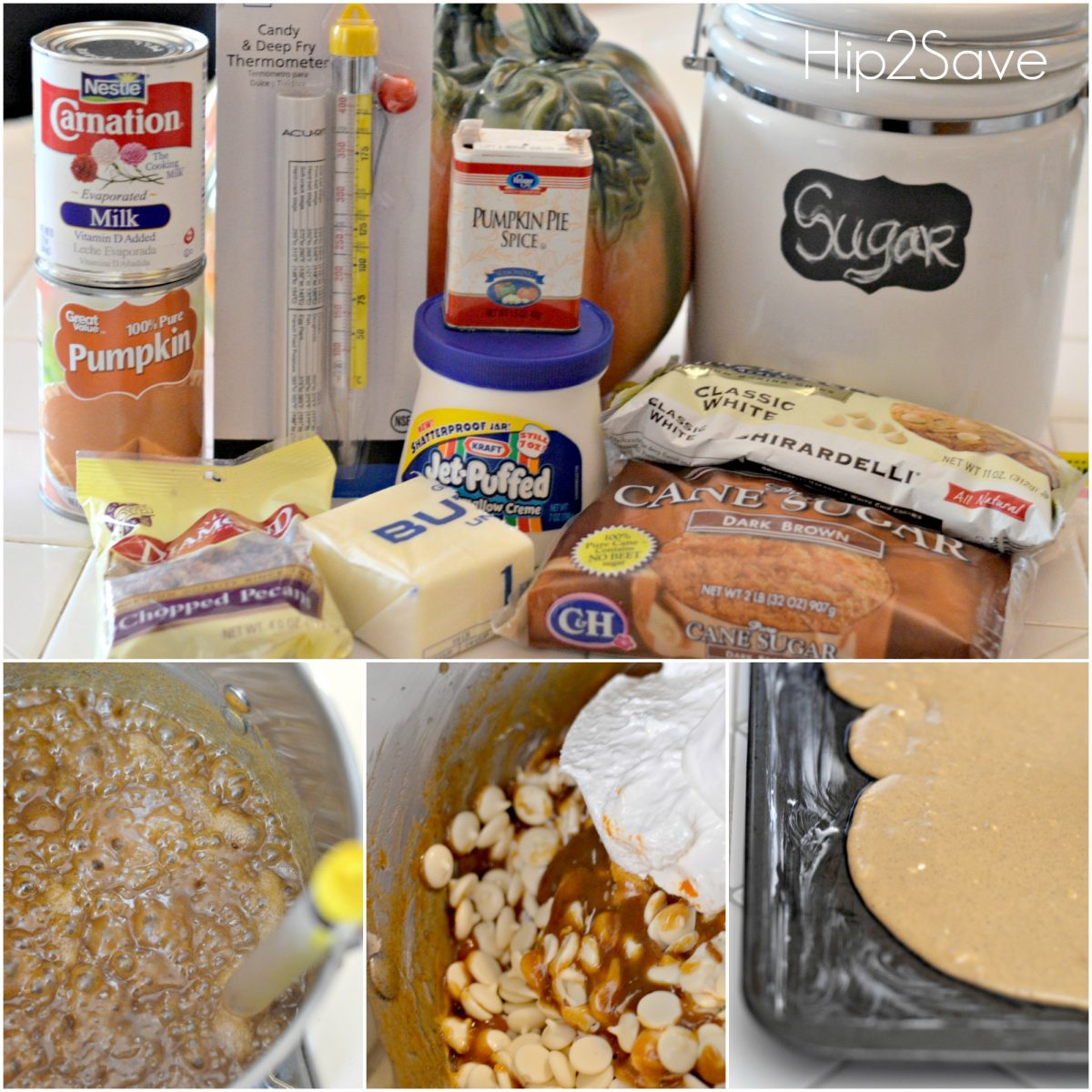 How to make pumpkin fudge ingredients plus steps showing the process