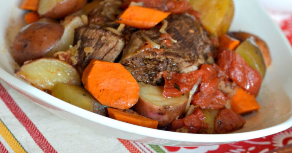 Pot roast with veggies in a bowl