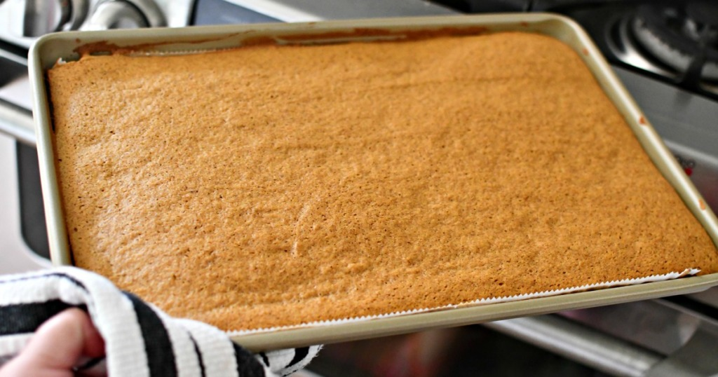 pumpkin cake baked in a jelly roll pan