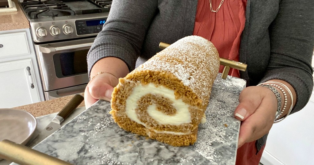 pumpkin roll on a tray