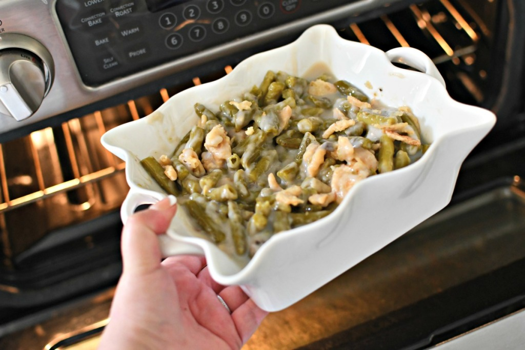 putting green bean casserole in the oven