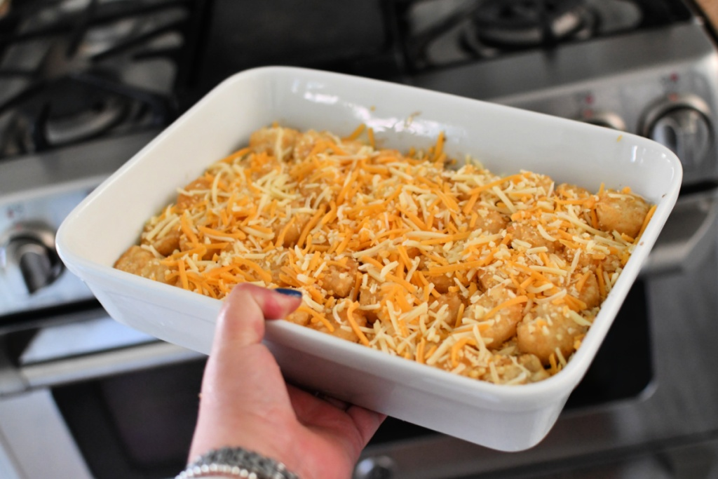 tater tot casserole ready for the oven