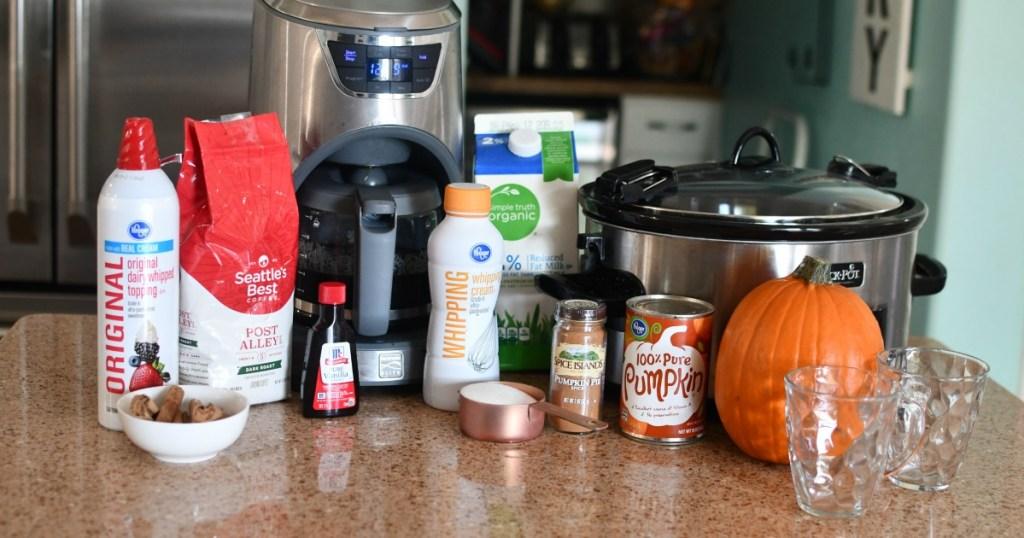 supplies to make slow cooker pumpkin lattes
