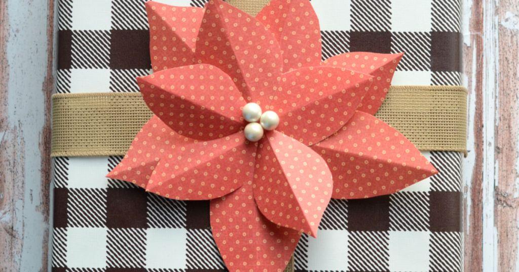 DIY paper poinsettia gift topper