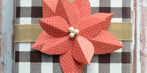 DIY Paper Poinsettia Gift Topper (Easy Paper Craft)