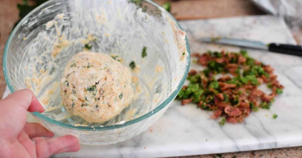acon cheese ball in a bowl