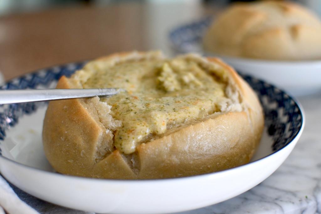 broccoli cheddar soup in bread bowl