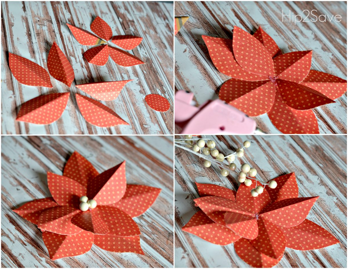 How to make an easy paper poinsettia flowerHip2Save