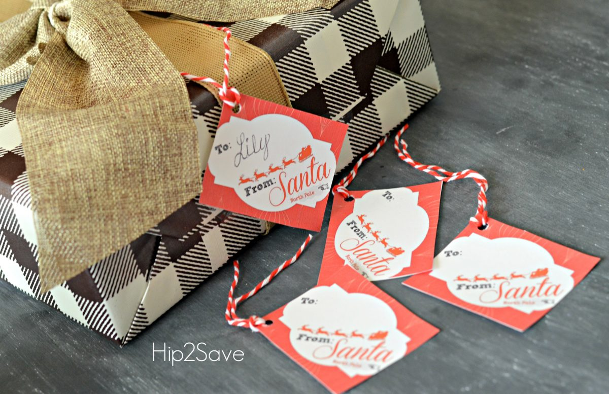 Printable Gift Tags from Santa on a present