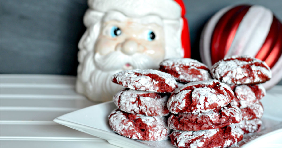 red velvet box cake cookies recipe – in front of a Santa statue