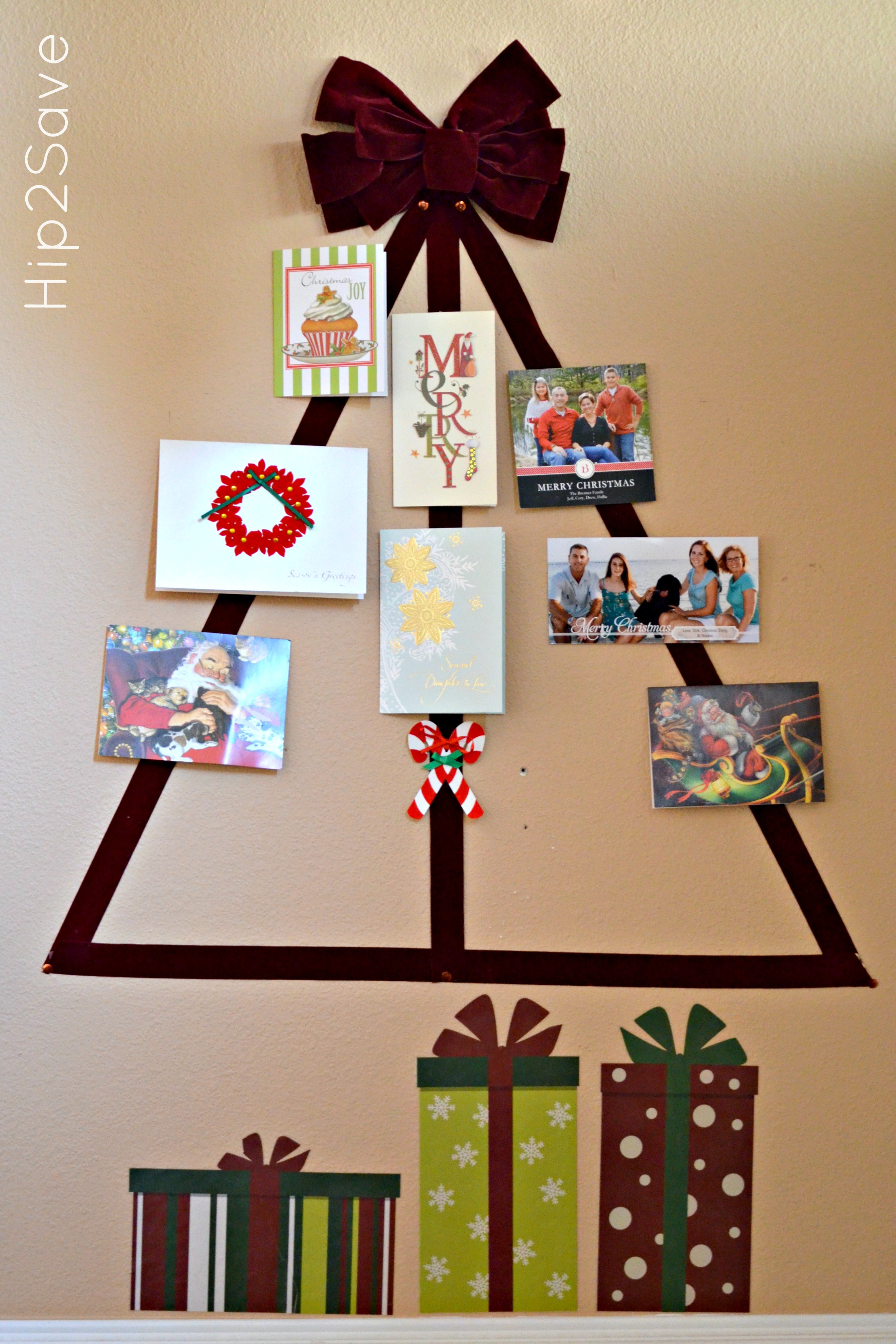 Ribbon Christmas Card Tree Display Hip2Save