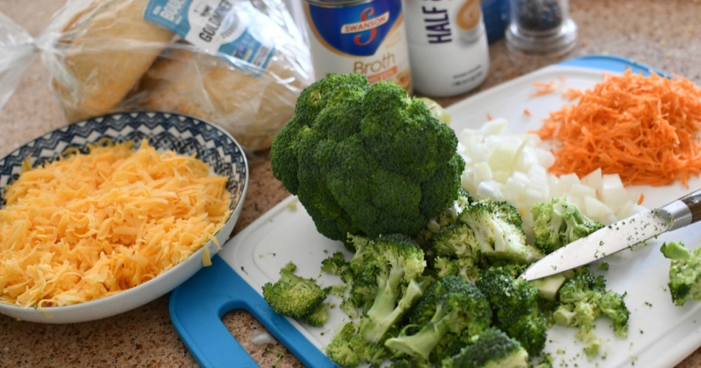 shredding cheese for broccoli cheddar soup