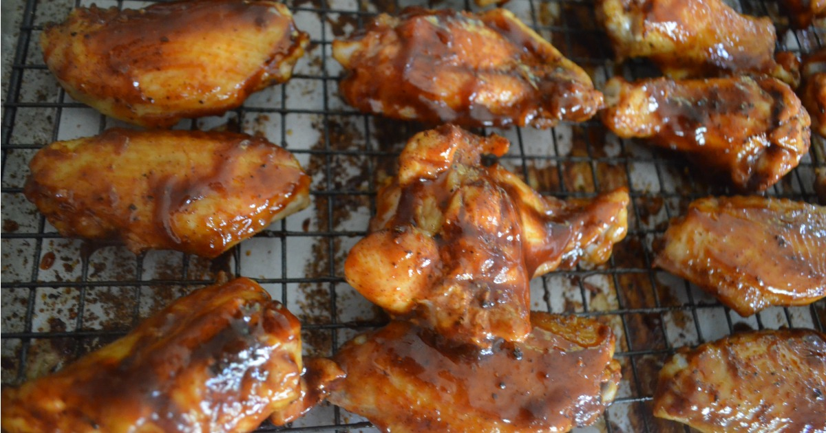 honey bbq baked chicken wings recipe – on the rack after baking