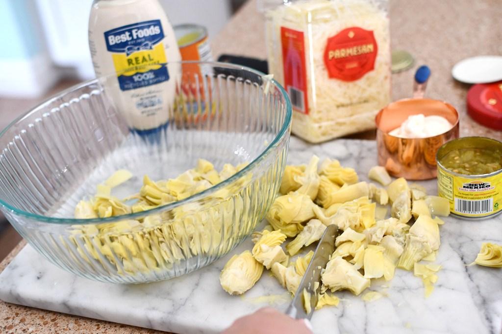 cutting artichokes for dip