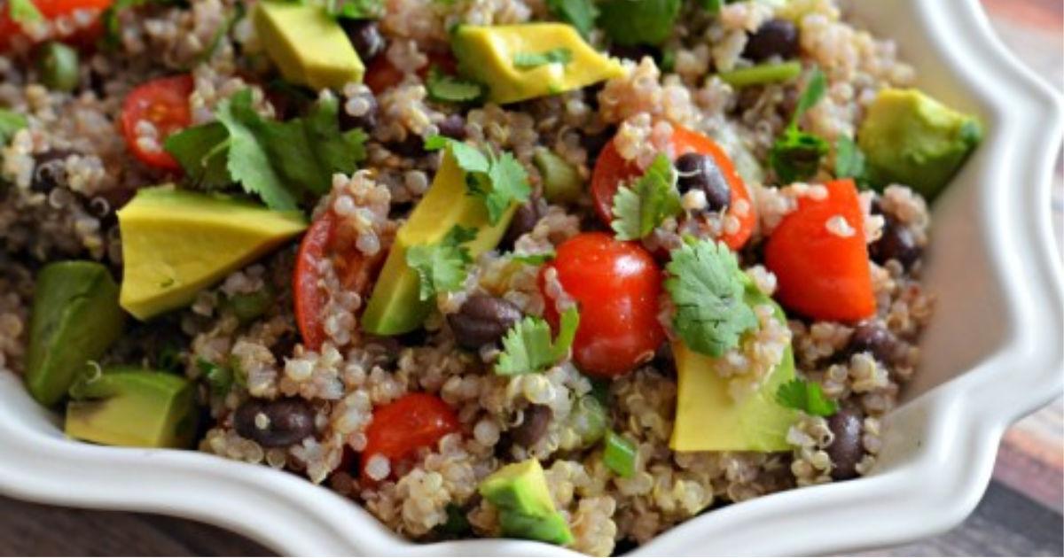 cilantro quinoa salad in a serving bowl
