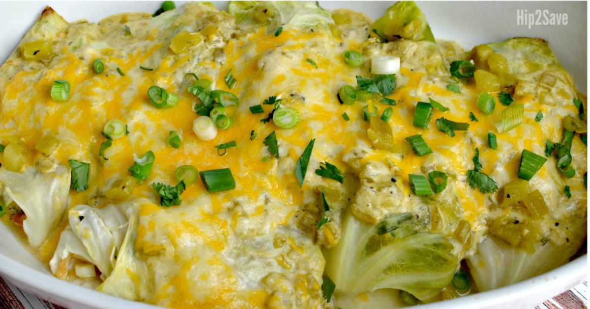 Hip2Keto keto cabbage green chile enchiladas recipe - up close image of the recipe