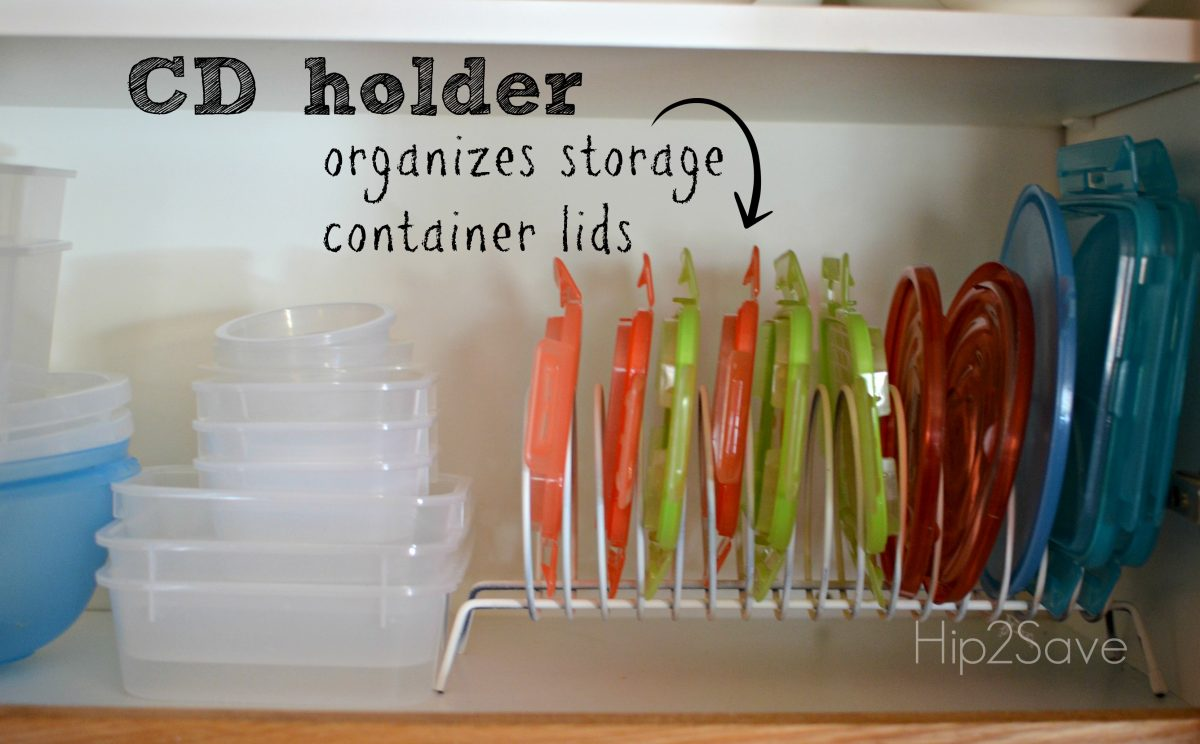 CD holder organizes storage container lids Hip2Save
