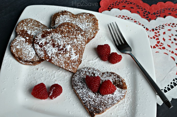 homemade chocolate pancakes for Valentine's Day