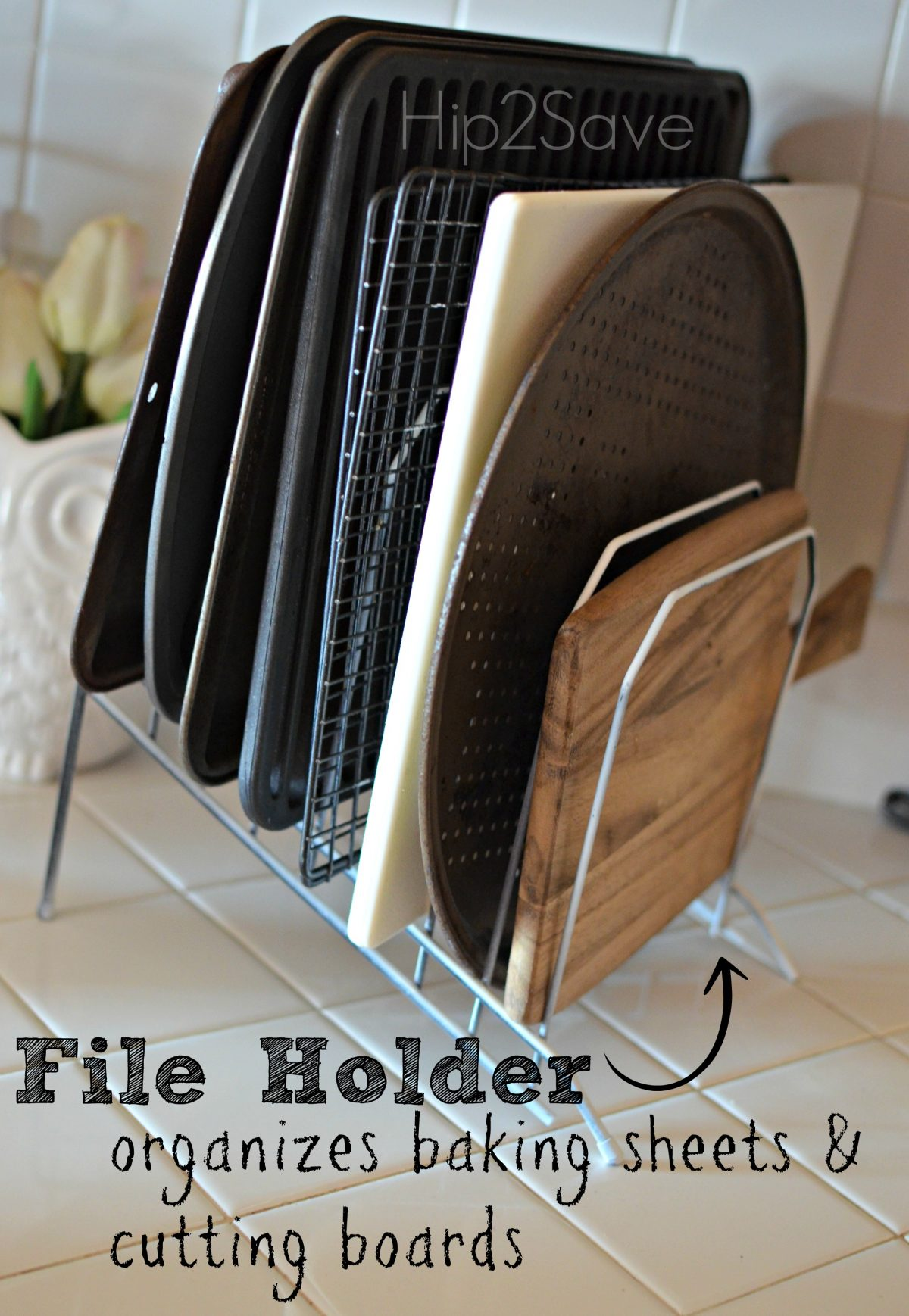 organize baking sheets and cutting boards with file holders