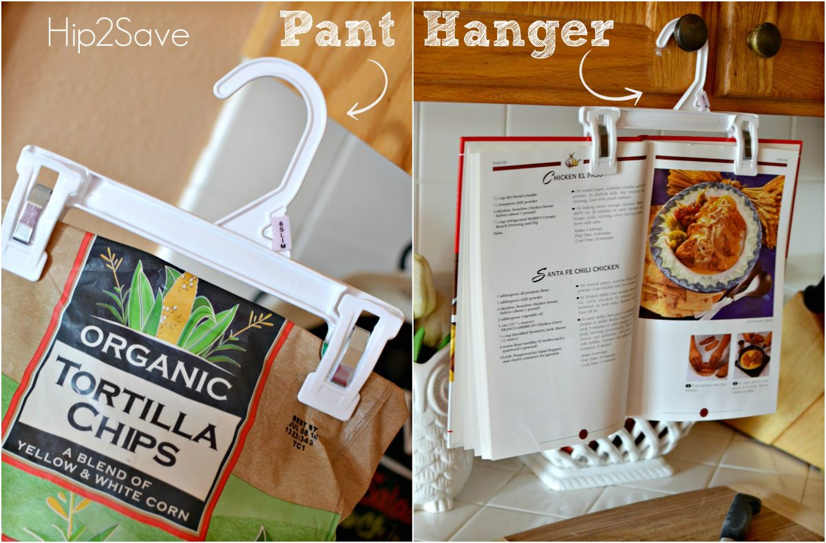 Re-Purpose Pant Hangers as a chip clip or cookbook holders Hip2Save