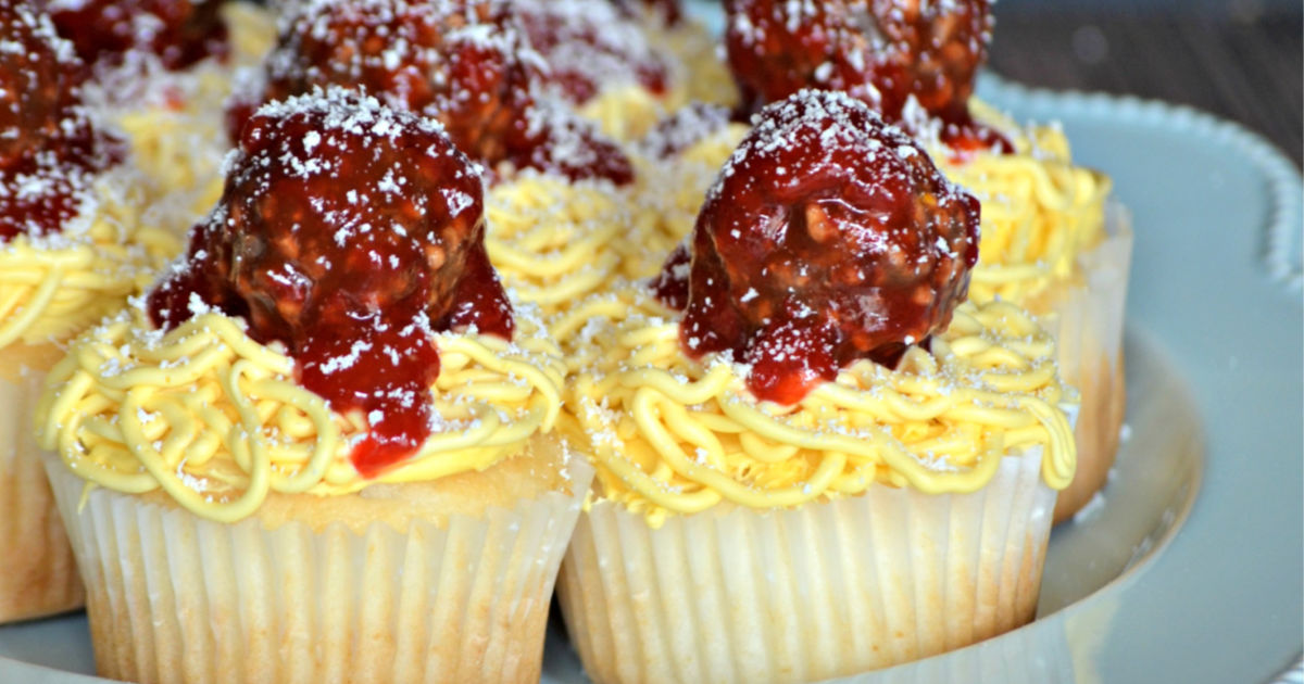 April Fool's Day spaghetti and meatball Cupcakes on a plate