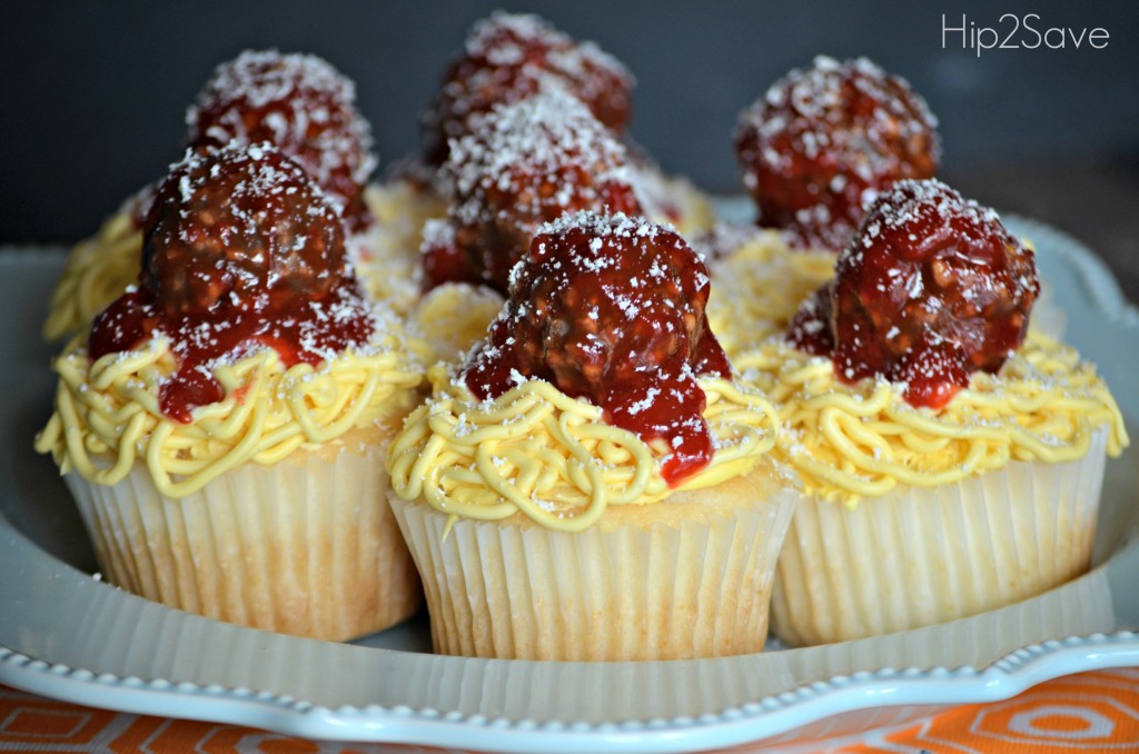 plate of cupcakes that look like spaghetti and meatballs