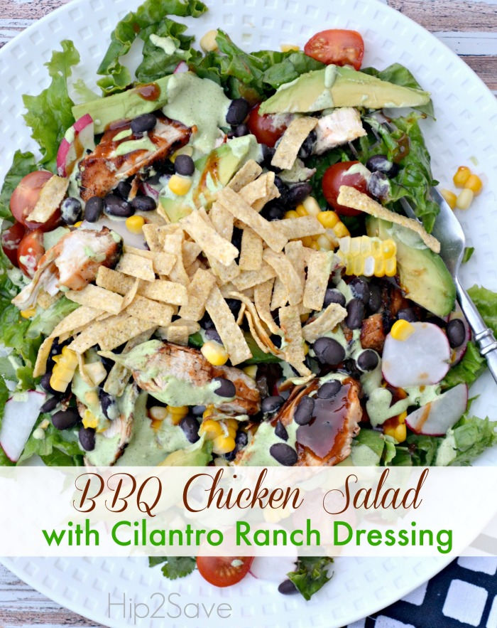 BBQ Chicken Salad wCilantro Ranch Dressing Hip2Save