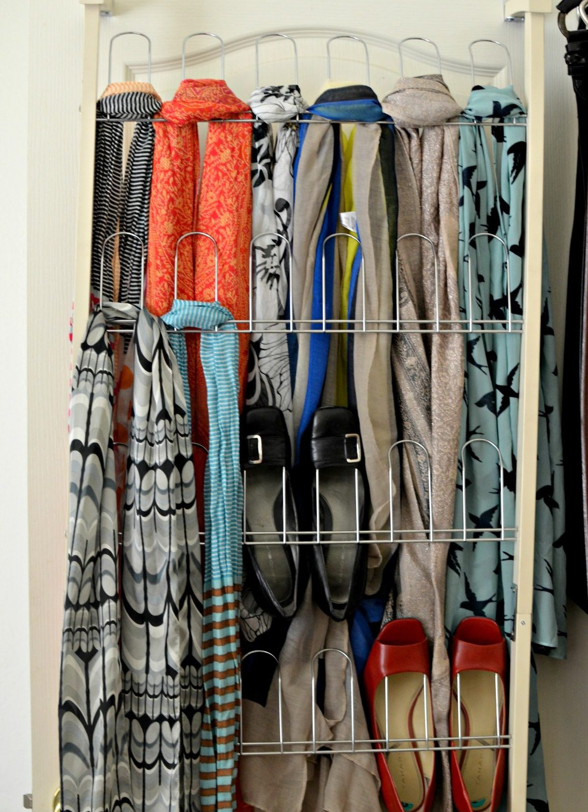 Behind the door shoe organizer as scarf organizer Hip2Save
