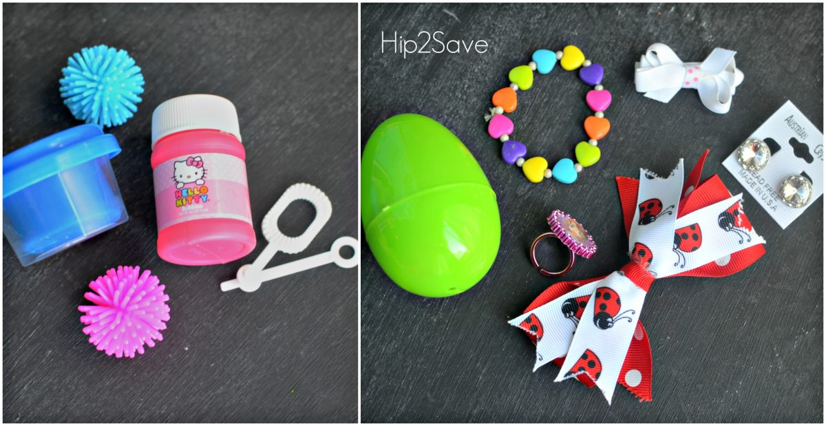 Bubbles, Earings, and bows as Easter Egg Filler