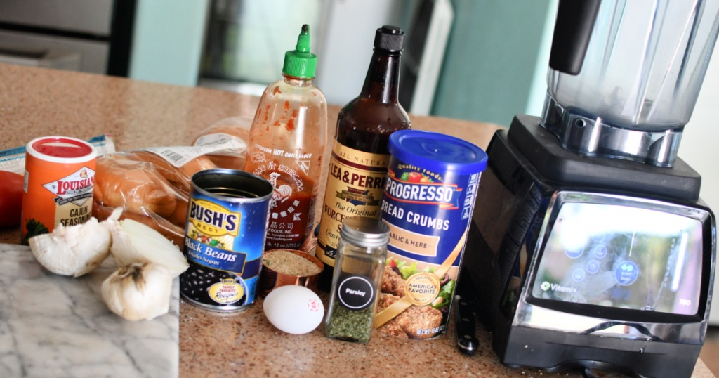 ingredients for black bean burgers on counter