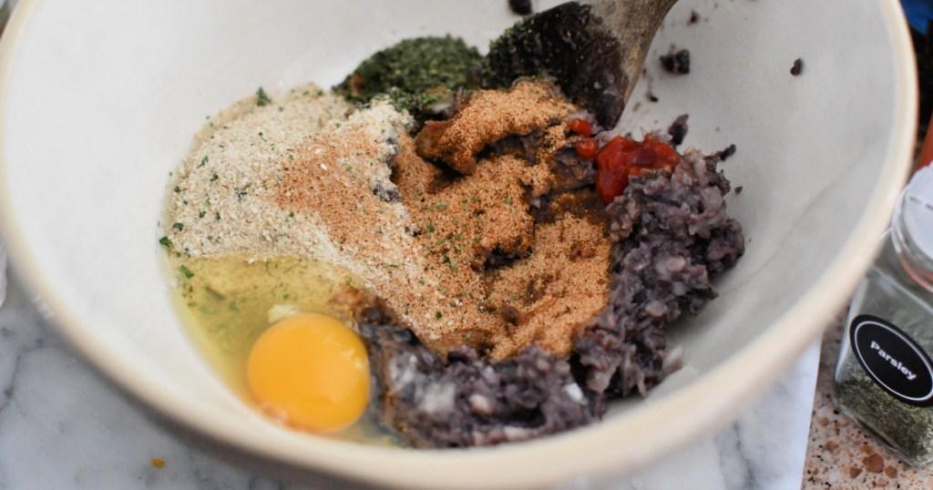 mixing bowl with black bean burger
