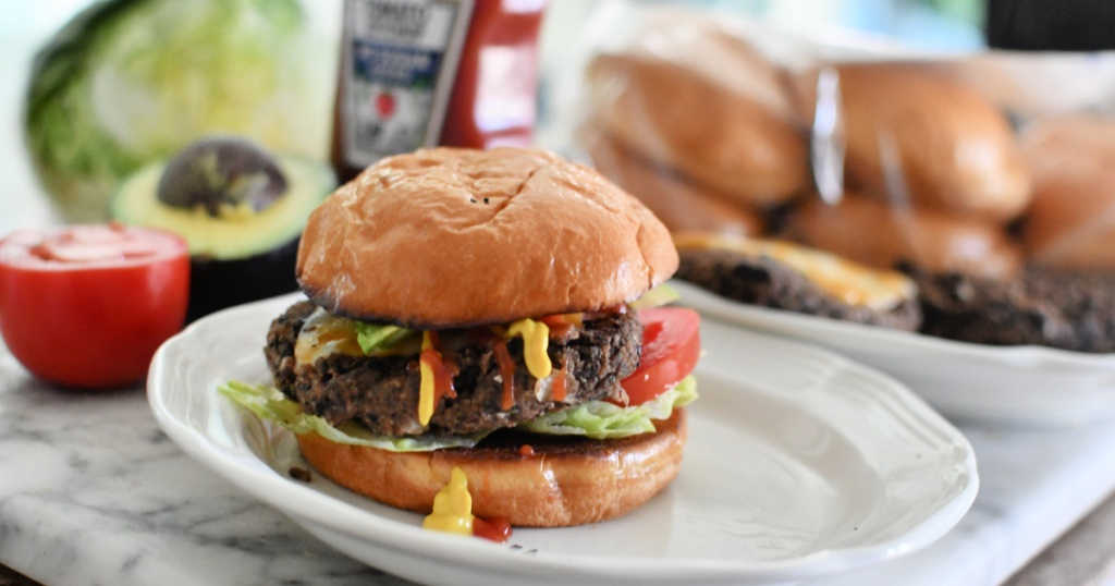 plate with a cooked black bean burger
