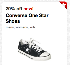 photo relating to Converse Coupons Printable called Focus: 20% Off Chat Just one Star Footwear Cartwheel Financial savings