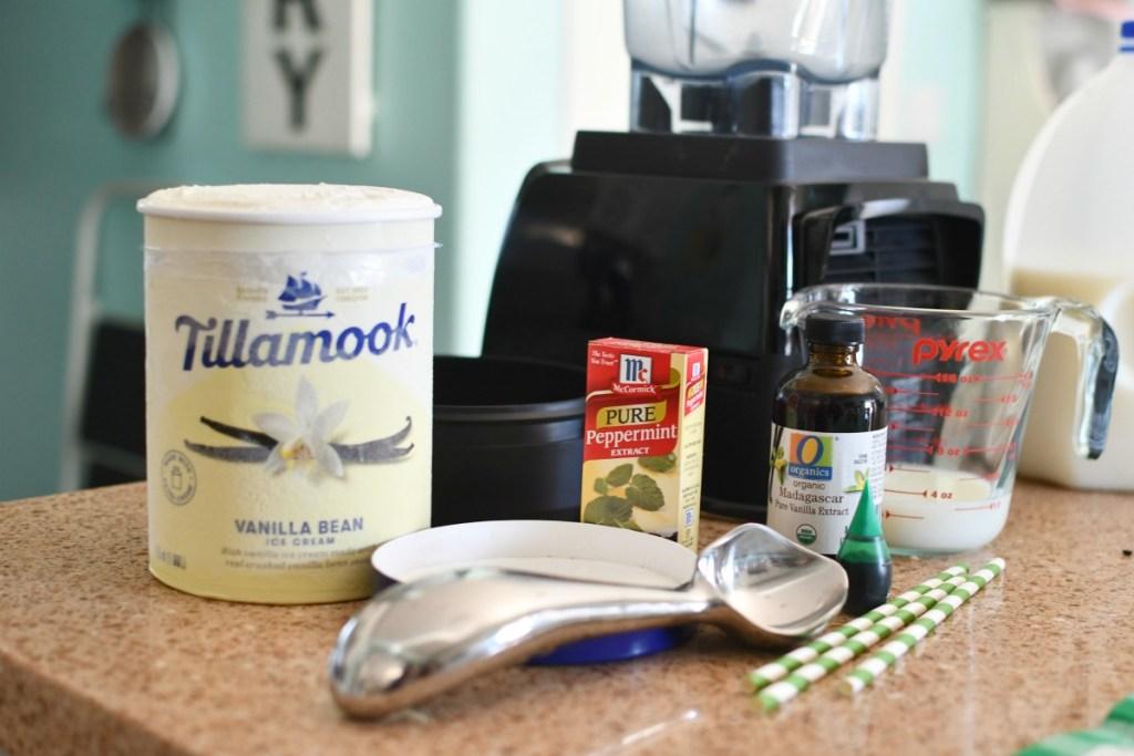 shamrock shake ingredients on the counter